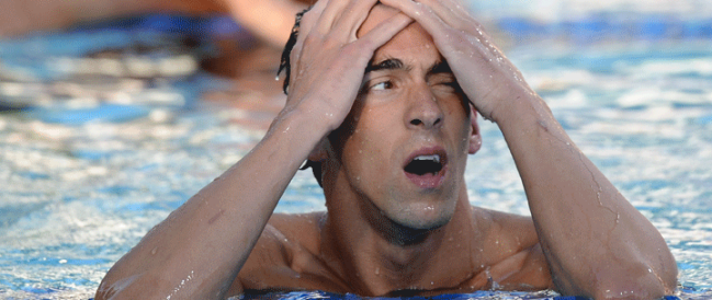 Michael Phelps after a disappointing swim in 2010.(Large)